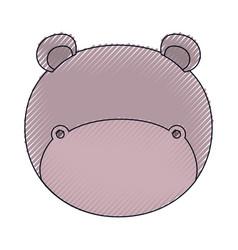 Color crayon silhouette faceless of hippo animal vector