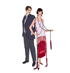 Couple on party man woman in cocktail dress in vector
