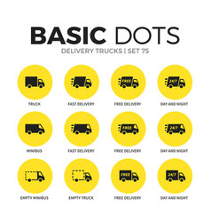 Delivery trucks flat icons set vector