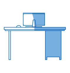 Desk computer office workspace design vector