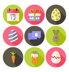 Easter flat styled circle icon set 5 with long vector