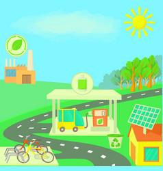 Ecology concept landscape cartoon style vector