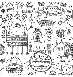Ethnic ornamental cute monsters seamless pattern 2 vector