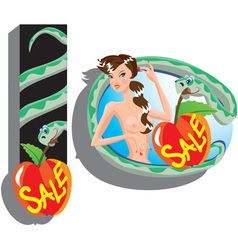 Eva and snake - sale cartoon vector image vector image