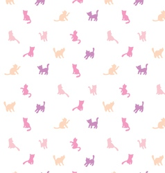 Feminine seamless cat pattern vector