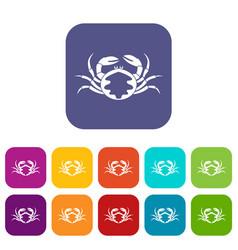 Fresh live crab icons set flat vector