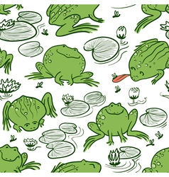 Frogs and water lily vector