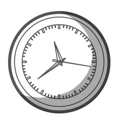 Grayscale silhouette of wall clock with thick vector