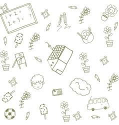 Green house happy kids doodle vector