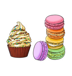 hand drawn desserts - cupcake and stack of vector image vector image