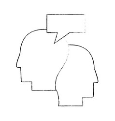 Heads human dialog communication sketch vector