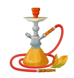 Hookah calabash with one long red pipe isolated on vector