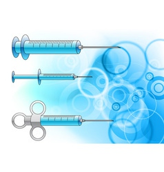 injections on the blue background vector image vector image