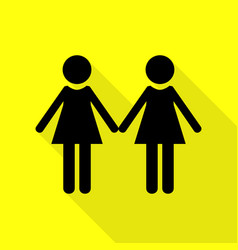 Lesbian family sign black icon with flat style vector