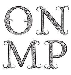 M N O P vintage patterned letters Font in floral vector image vector image