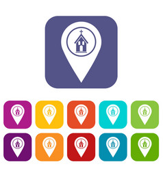 map pointer with church icons set flat vector image