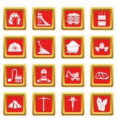 Miner icons set red vector