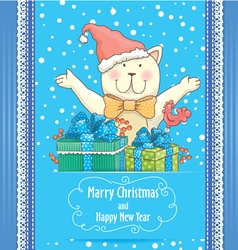 New Year card with cat vector image vector image