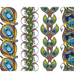 Pattern with peacock feathers vector