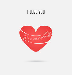 red heart sign and i love you typographical vector image vector image