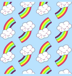Seamless pattern with cloud and rainbow vector