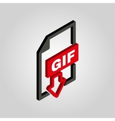 The GIF icon3D isometric file format symbol Flat vector image