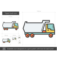 Tipper truck line icon vector