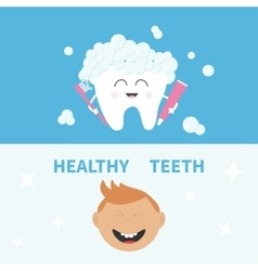Tooth holding toothpaste and toothbrush smiling vector