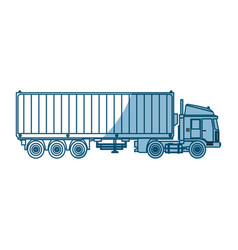 Truck container shipping cargo outline vector