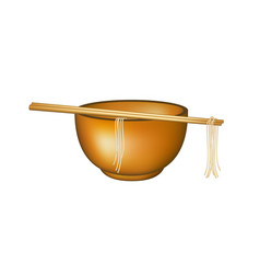 Wooden chopsticks holding noodles lying on bowl vector
