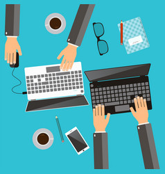 working process of business team concept hands vector image vector image