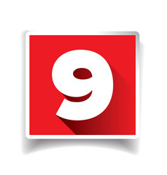 Number nine label or number icon vector