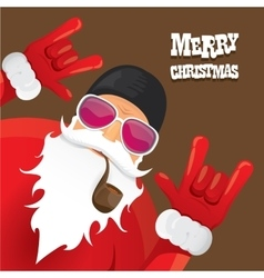 Biker santa claus with smoking pipe vector