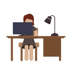 Woman sit in desk with flat screen and lamp vector
