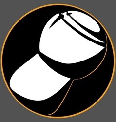 Champagne cork black circle logo on a gray vector