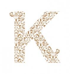 Floral letter k ornament font vector