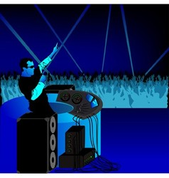Disc jockey and audience vector