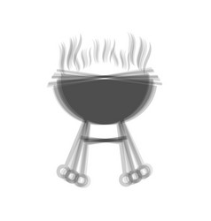 Barbecue simple sign  gray icon shaked at vector