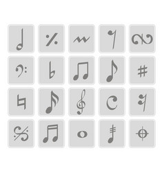 Set of monochrome icons with musical symbols vector