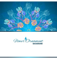 Blue floral ornament mandala background card vector
