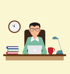Office worker sitting at the table and working vector