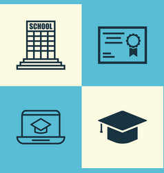 School icons set collection of distance learning vector