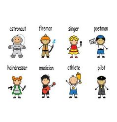 Cartoon set of people of different professions vector