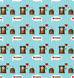 Coffee machine and coffee grinder seamless pattern vector