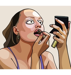 Cartoon woman paints her lips with lipstick vector