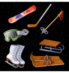 Set of accessories for winter sports seven items vector