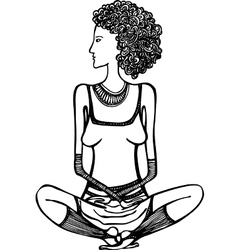 Girl sitting in the lotus position vector