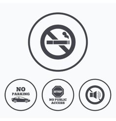 No smoking sound private territory parking vector