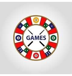 Circle logo desktop gambling cards vector
