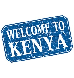Welcome to kenya blue square grunge stamp vector